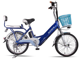 Cina 24 '' Pelek Aluminium Lithium Single Speed ​​City Bike Blue Pedal Assist Electric Bike pabrik